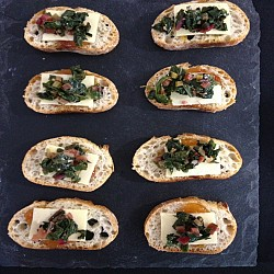 Savory Jam, Greens & Cheese Crostini
